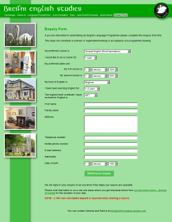 Enquiry form page